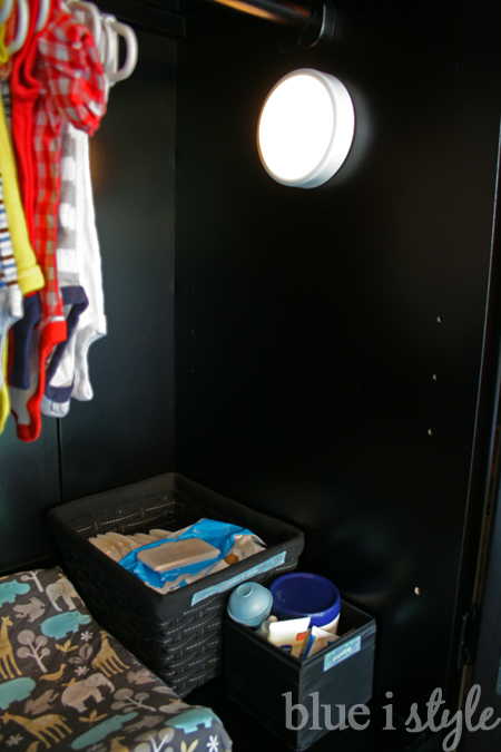 stick on light in armoire baby changing station