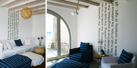 Photos of lounge at Mykonos Grace Hotel with blue and white decor and poem on the wall