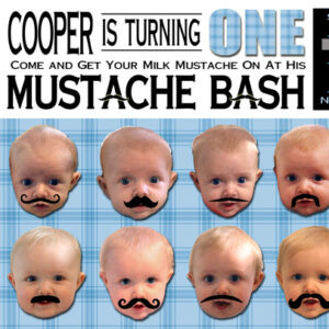 First Birthday Party Mustache Bash Invitation