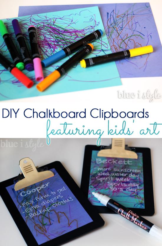 DIY Chalkboard Clipboards featuring kids' art