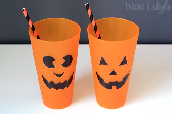 Jack o'Lantern Drinking Glass Clings on Plastic Cups