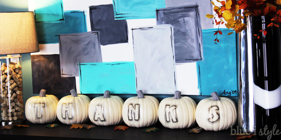 Sharpie silhouette Thanksgiving pumpkins