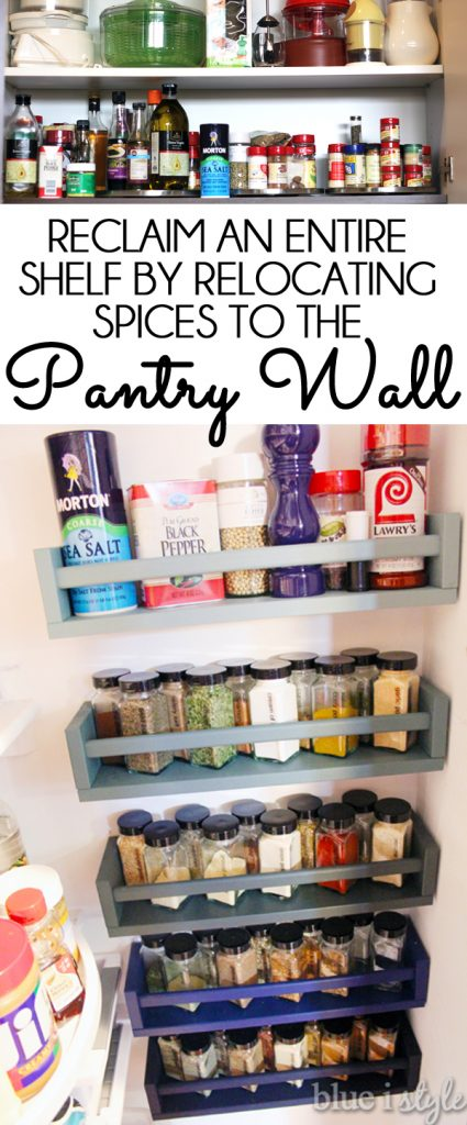 Reclaim an entire shelf by moving spices to pantry wall
