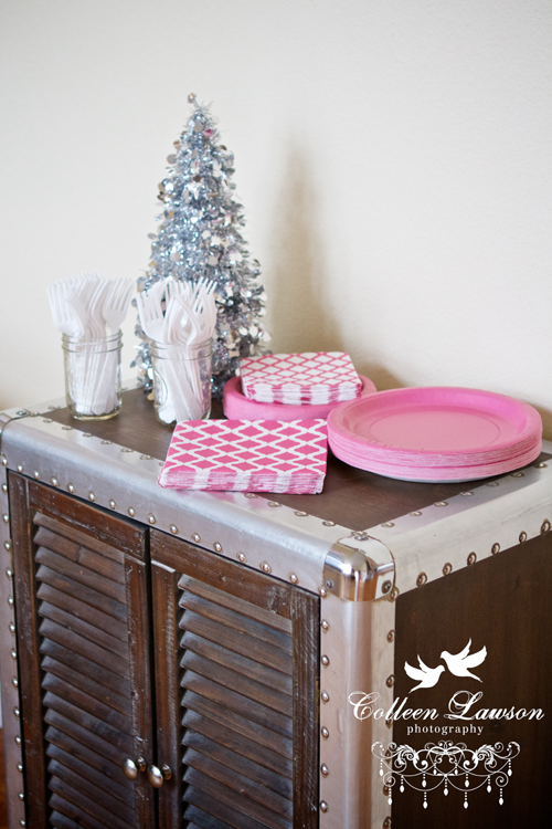 White, pink and silver winter onederland first birthday decorations