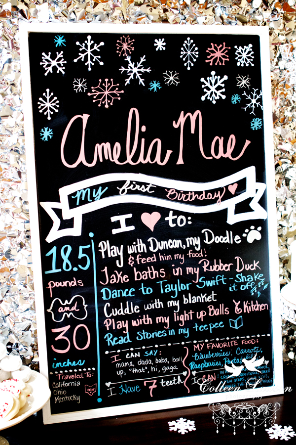 Winter Onderland First Birthday Chalkboard Sign