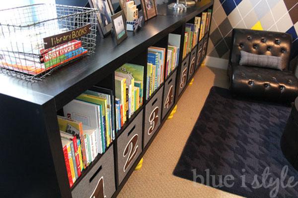 Bookshelf and toy storage in boy's room