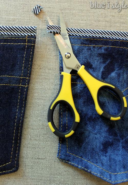 DIY denim pocket organizer