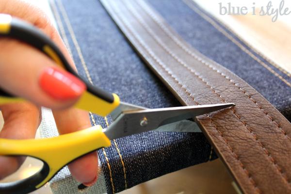 Leather belt and denim DIY Organizer