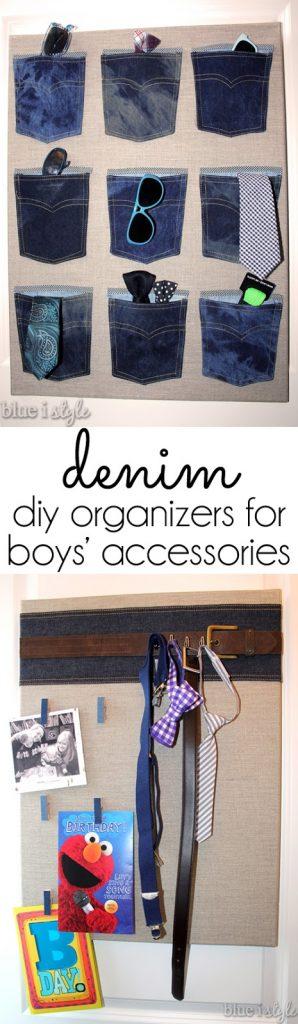 DIY menswear inspired organization for boy's room
