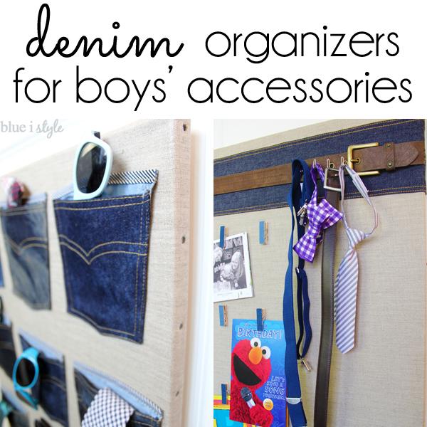 Denim organizers for boys' accessories