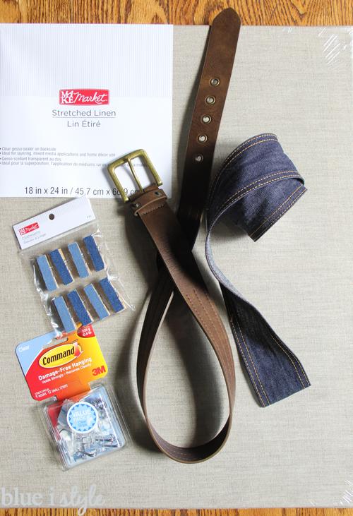 DIY denim and belt organizer for boy's accessories