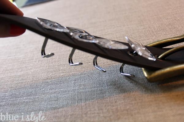 Hooks through belt holes for organization