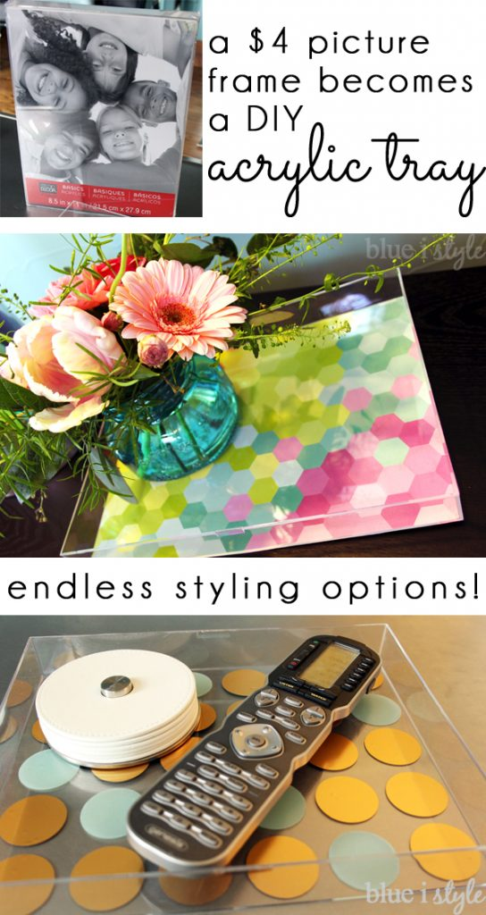 Picture frame becomes diy decorative acrylic or lucite tray