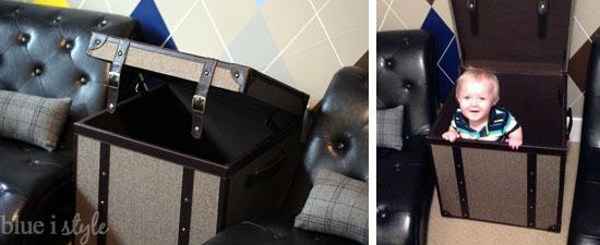 Storage trunk in boy's room
