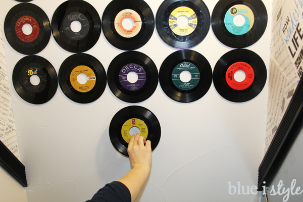 Attaching records to ceiling