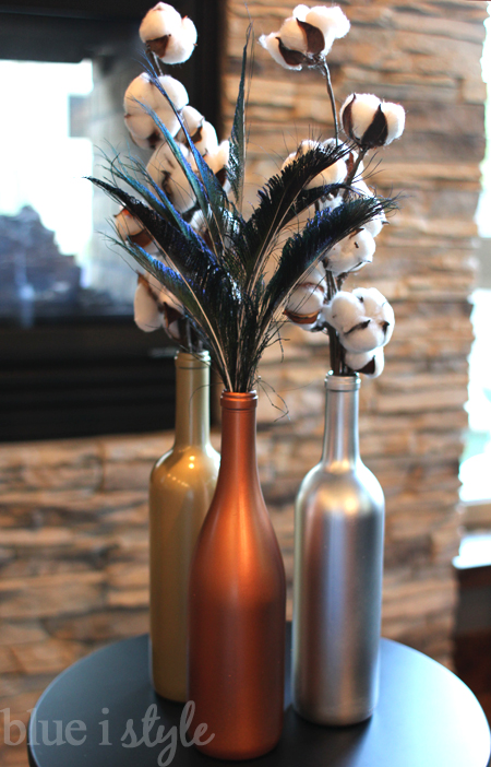 metallic wine bottle vases