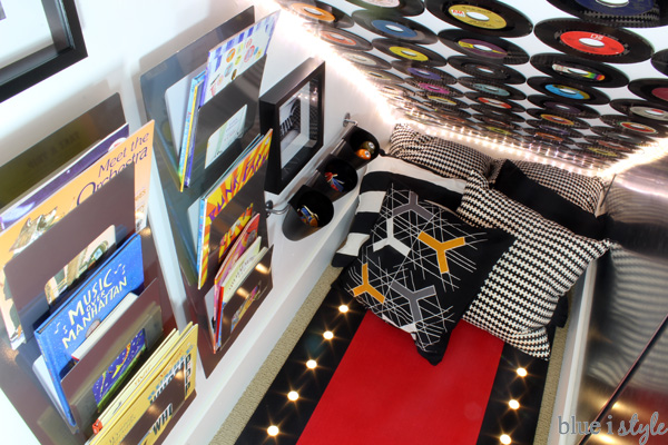 Record feature wall in playroom