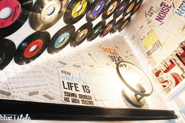 DIY rock & roll wallpaper in a music studio playroom.