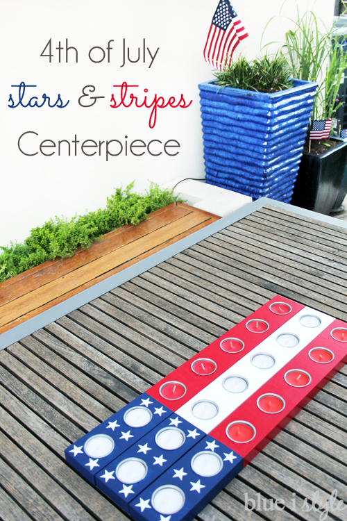 American Flag Centerpiece Candle Holder 4th of July Patio Decor