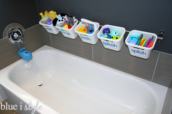 Stylish bathtub toy storage