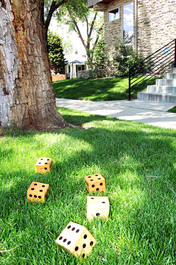 Playing yard dice on the lawn