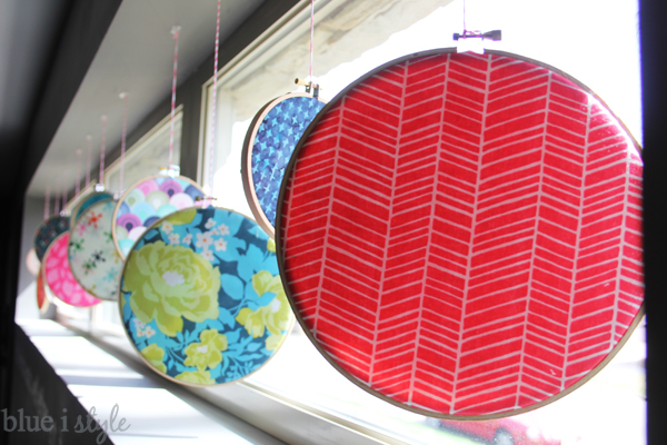 Fabric Filled Embroidery Hoop Window Display