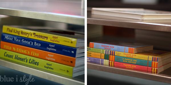 Kids books on coffee table shelf