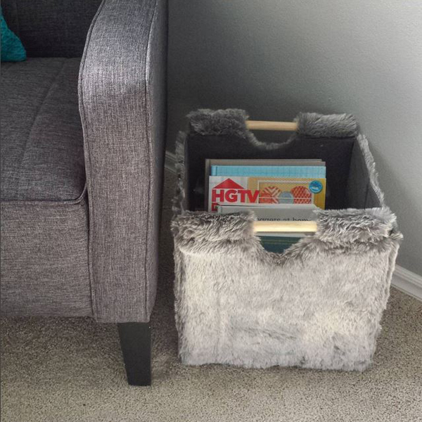 Use baskets to store books and magazines