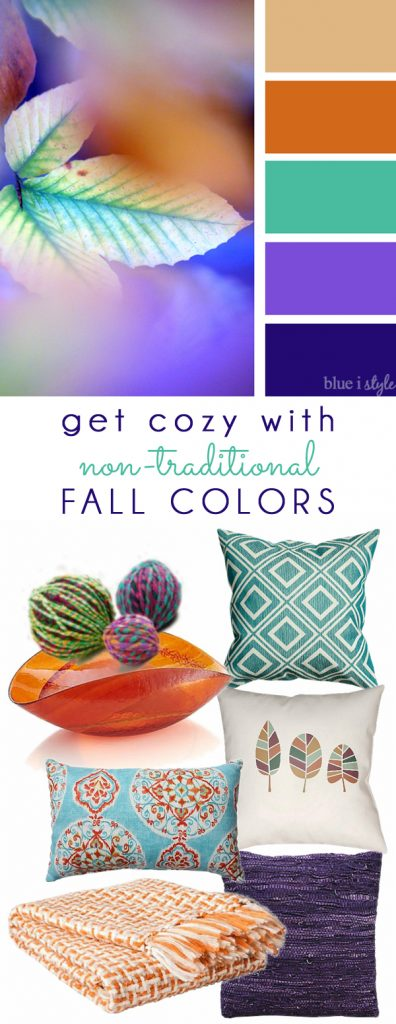 Orange Teal and Purple Fall Color Mood Board