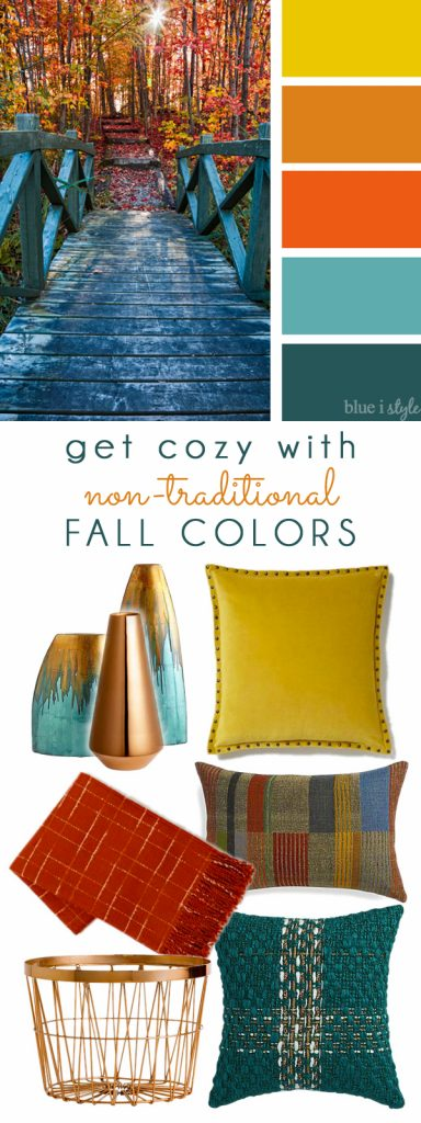 Yellow, Orange and Teal Fall Color Mood Board