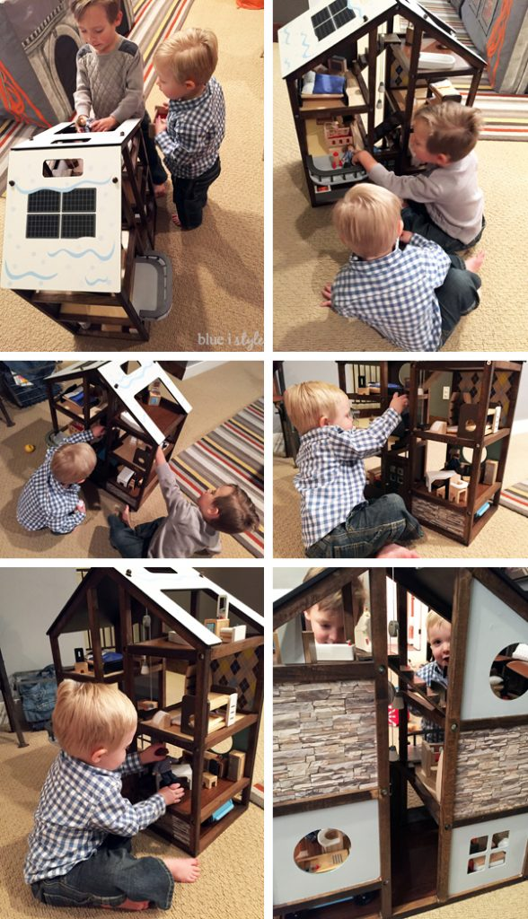 Boys Playing with customized Hape All Seasons Dollhouse