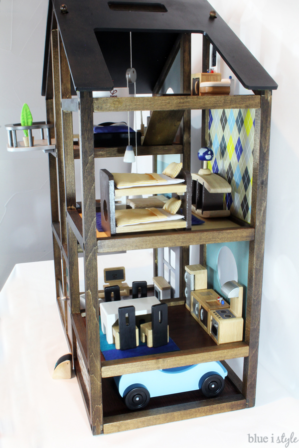 Customize an off-the-shelf wood Hape dollhouse