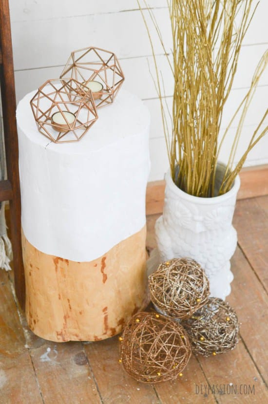 Sand-and-Paint-a-Log-for-a-Rustic-Table