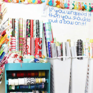 Organize Gift Wrap in a Closet