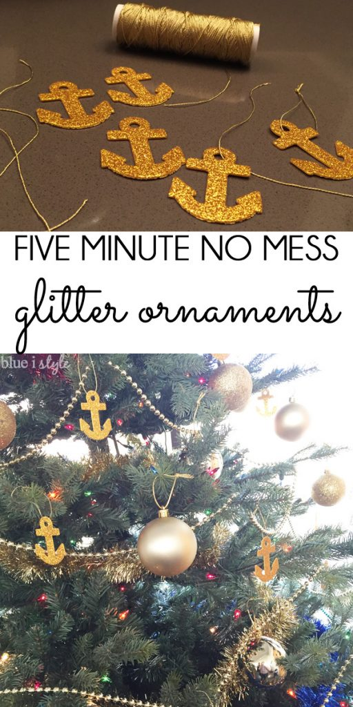 DIY gold glitter anchor ornaments