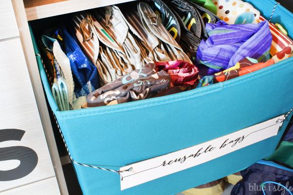Basket of reusable shopping bags