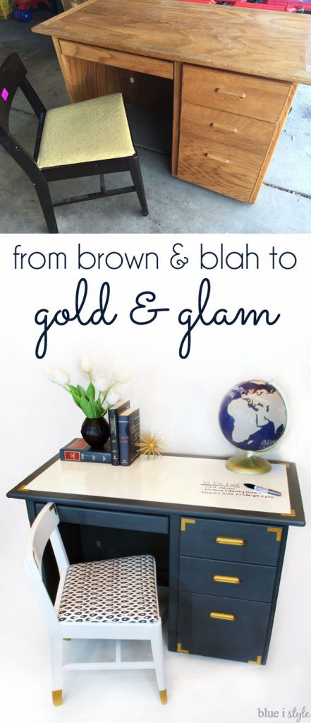 Navy and Gold Campaign Desk Dry Erase Desktop