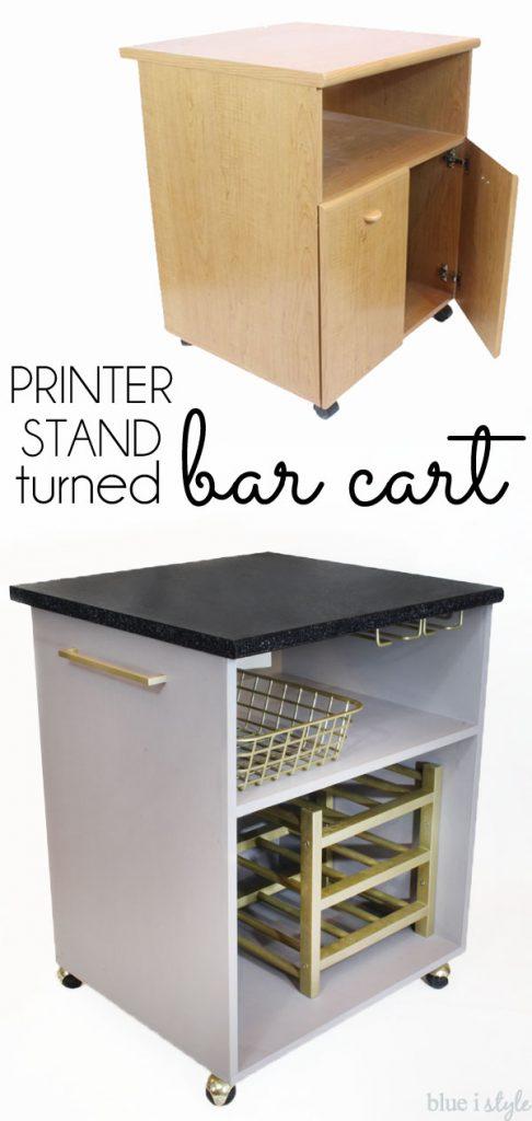 DIY Bar Cart printer stand upcycle