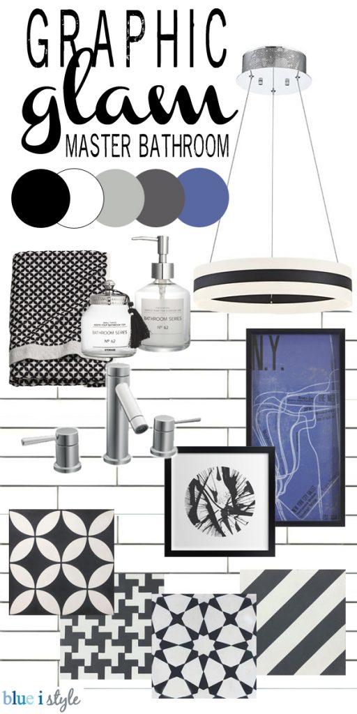 Graphic Glam master bathroom mood board