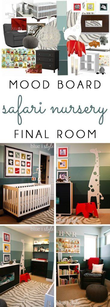 Animal themed nursery mood board and photos