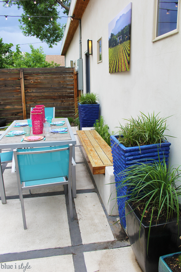 Backyard planter bench dining table seating