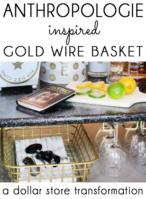 Anthropologie inspired gold basket makeover