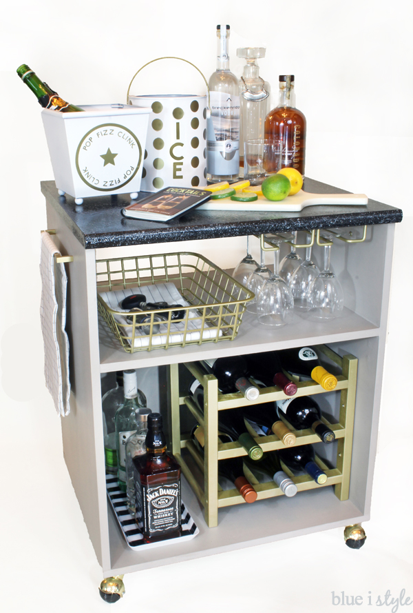 DIY bar cart with five minute accessories