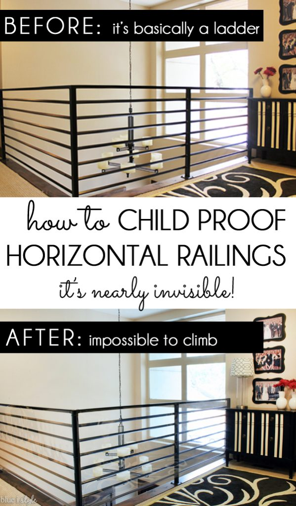 How to child proof or baby proof a horizontal railing banister guard