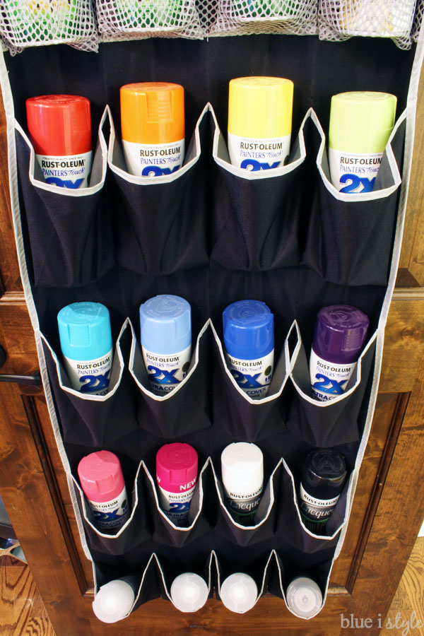 Storing spray paint in a shoe bag