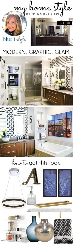 Master Bathroom Before and After: Modern Graphic Glam