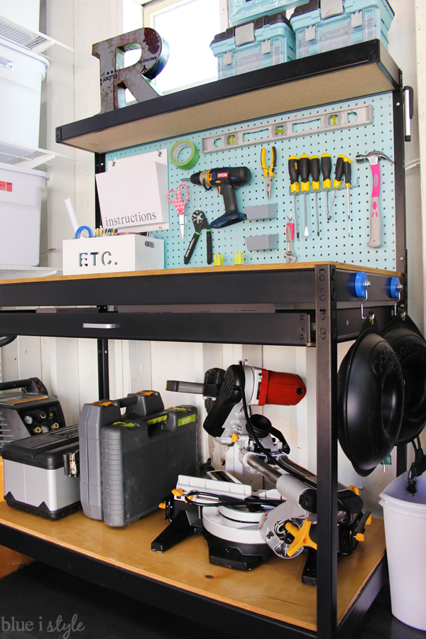 Organized garage workbench