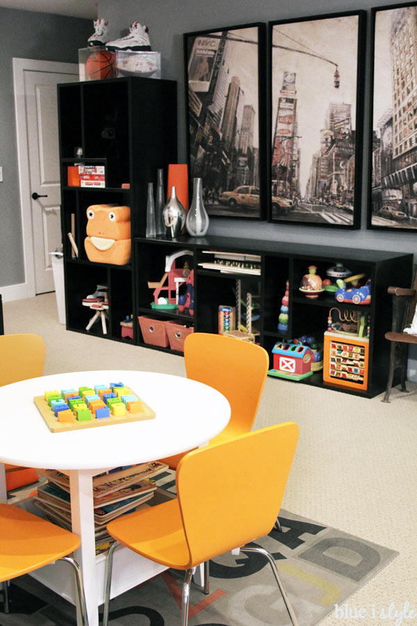 Toy Storage In Basement Family Room