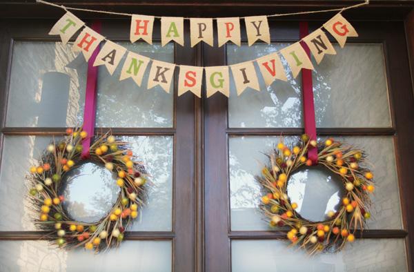Thanksgiving Front Door Banner Wreaths