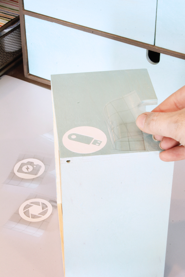Applying icon labels with Cricut Transfer Tape